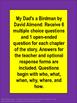 My Dad's a Birdman Comprehension Questions