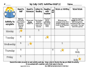My Daily Five CAFE Ticket and Weekly Reflection