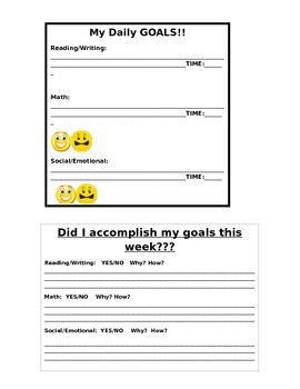 My Daily Goals Chart