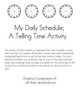 My Daily Schedule; A Telling Time Activity
