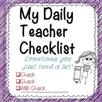 Back to School/My Daily Teacher Checklist