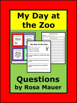 My Day at the Zoo Short-Answer Task Cards and Worksheet