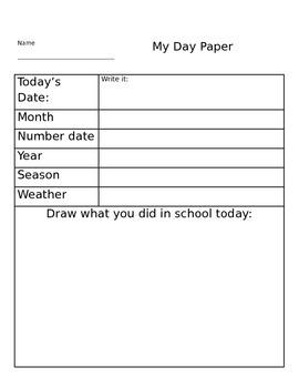 My Day calendar worksheet