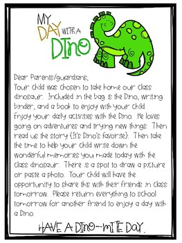 My Day with a Dino{Take-home shared writing activity}