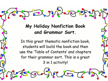 My December Holiday Nonfiction Book and Grammar Sort.