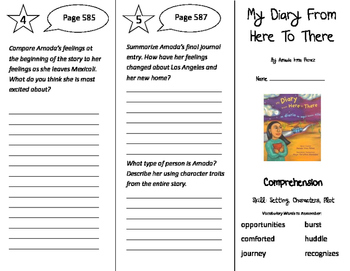 My Diary From Here To There Trifold - Storytown 4th Grade Unit 5 Week 2