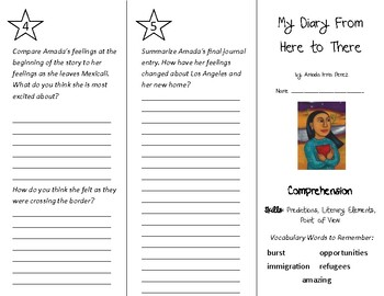 My Diary From Here to There Trifold - Into Reading 4th Grade Module 3 Week 3
