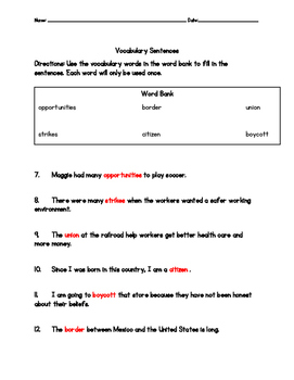 My Diary from Here to There Vocabulary Test