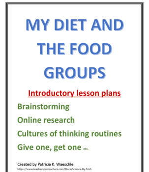 My Diet and the Food Pyramid - Introductory Lesson plans and worksheets