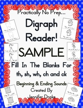 My Digraph Book!  FREE Sampler for Initial & Ending Sound Sh, Th, Ch, Wh & Ck