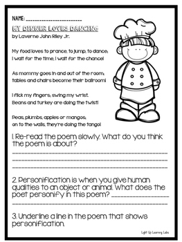 Freebie! My Dinner Loves Dancing Quick Poetry Lesson