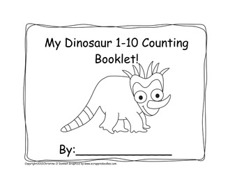 My Dinosaur 1-10 counting book: # line, 10 frame, tally+