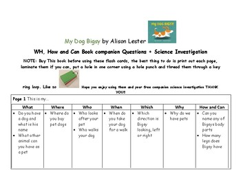 My Dog Bigsy book companion Wh, How and Can questions + Science investigation