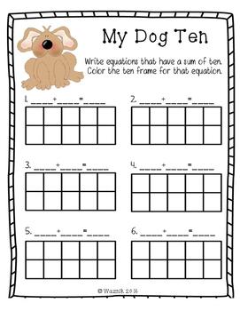 My Dog Ten Addition Worksheet