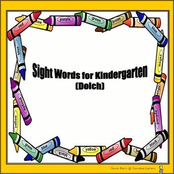 Sight Words for Kindergarten (Dolch)   No Prep.