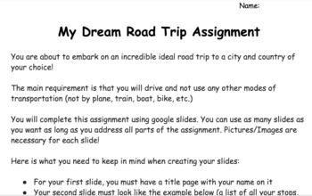 My Dream Road Trip Assignment