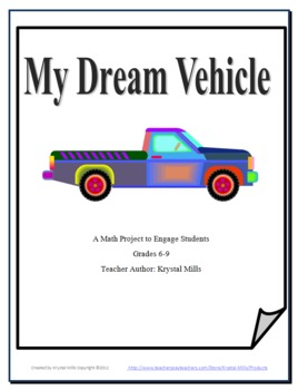 My Dream Vehicle Gr 6-9 Math Project: Percents, Interest, Decimals