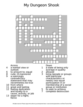 My Dungeon Shook by James Baldwin Reading Worksheet Crossword and Wordsearch