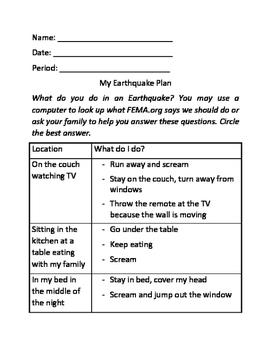 My Earthquake Plan