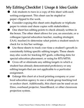 My Editing Checklist