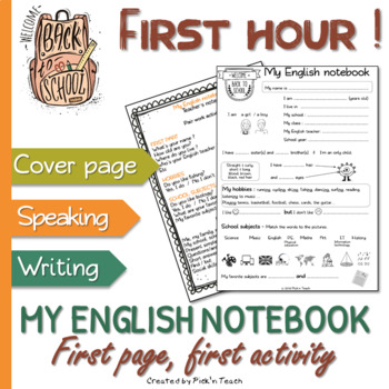 "BACK TO SCHOOL - ""My English notebook"" - Coverpage with activities"