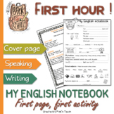 """My English notebook"" ESL first hour - Cover page with activities"