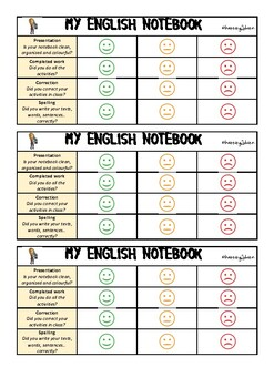 My English notebook rubric