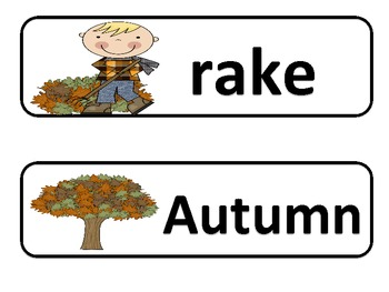 My Fall sight word cards