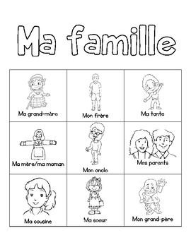 My Family BINGO in French