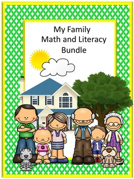 My Family Bundle NO PREP/LOW Prep Math and Literacy Centers Printables