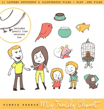 My Family Clipart - Customize in Photoshop or Illustrator