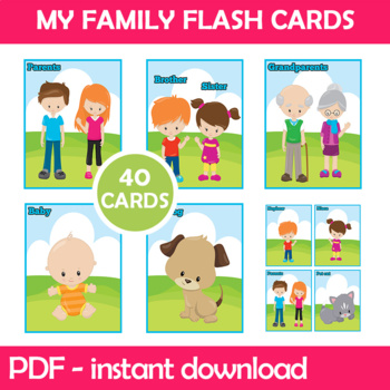 My Family Flash Cards; Kindergarten; Preschool; Homeschool; Bulletin Board