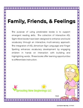ASL (American Sign Language) ~My Family, Friends, & Feelings Book