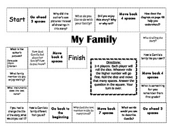 """My Family"" 2nd grade Journeys comprehension game board"