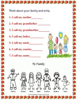 My Family - Lesson, Worksheet and Activities-Common Core Aligned