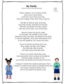 My Family Poem By Ximena Montilla Clases Listas Tpt