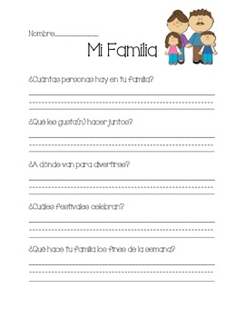My Family Printable in Spanish