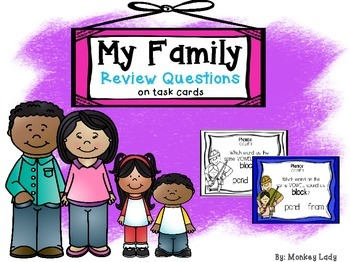 My Family Review Task Cards for Houghton Mifflin Journeys