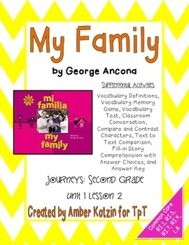 My Family Supplemental Activities 2nd Grade Journeys Unit 1, Lesson 2