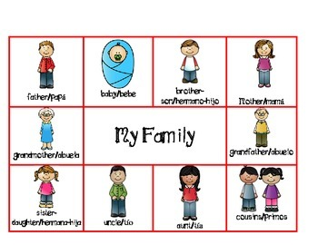 My Family bilingual games for PreK and Kindergarten