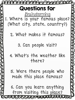 My Famous Place Report {Student Research on Famous Places}
