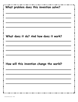My Fantastic Invention Sheets - Inventions and Inventors Unit Project