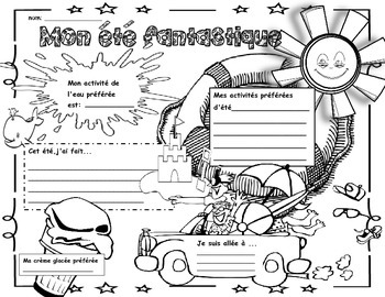 Back to School-My Fantastic Summer:Poster/Icebreaker Activity in FRENCH!
