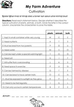 My Farm Adventure Thematic Unit Grades 3-4