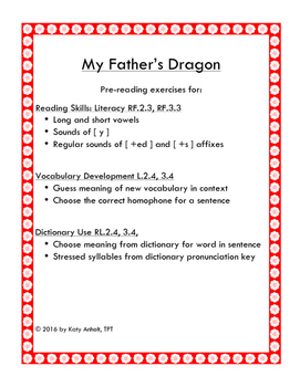 My Father's Dragon:  PRE-READING PACKET for Phonics and Vocabulary Development