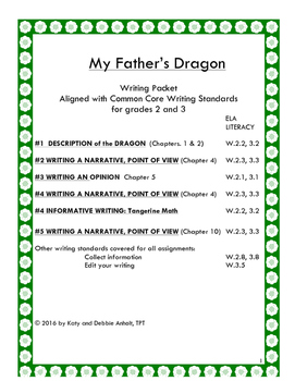 My Father's Dragon: WRITING PACKET Five writing assignments meeting Common Core