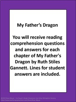 My Father's Dragon Comprehension Unit