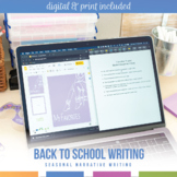"""Back To School Writing Activity - """"My Favorites"""" Narrative Writing"""