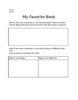 My Favorite Book Activity (Making Connections!)