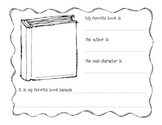 My Favorite Book Is writing activity